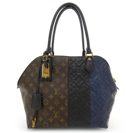 This is an authentic LOUIS VUITTON Monogram Blocks Stripes Medium Bag in Marine.   This sophisticated tote is finely crafted of traditional Louis Vuitton monogram coated canvas Louis Vuitton monogram embossed black leather and Louis Vuitton monogram embossed marine blue leather.