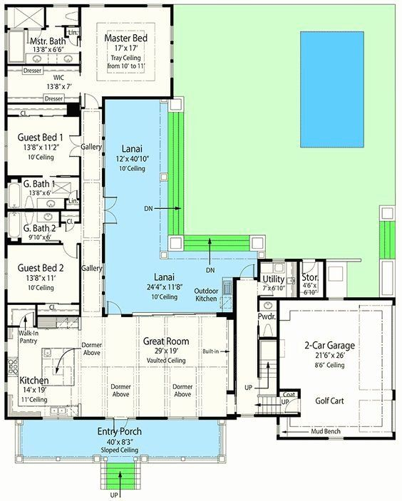 1st Floor Master House Plans Luxury Plan Zr Net Zero Ready House Plan With L Shaped Lan In 2020 L Shaped House Plans Energy Efficient House Plans Courtyard House Plans