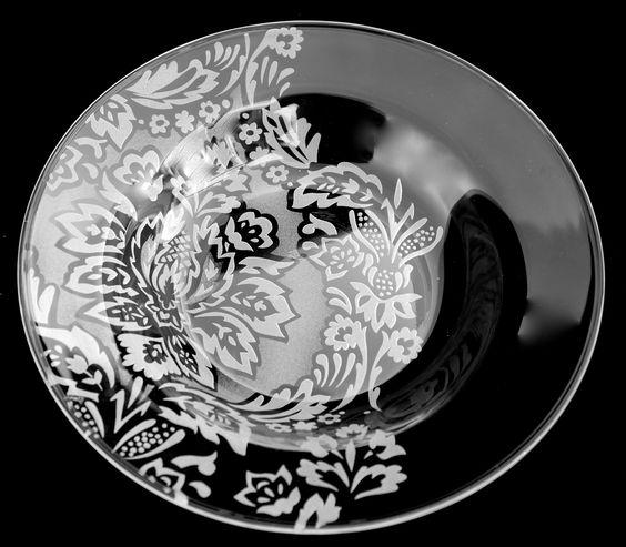 "Damask design bowl 7"" diameter. Sold"