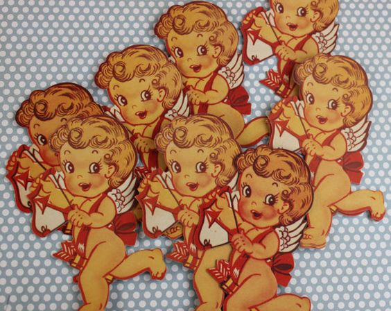 Vintage Cardboard Die Cut Cupid Valentine's Day ONE by EisforEthel