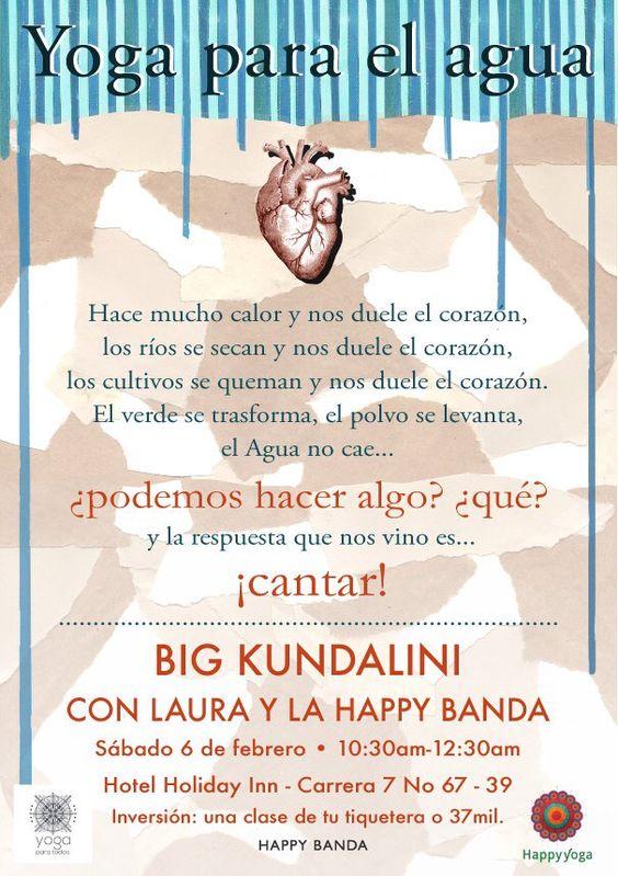 yoga, mantras, para el agua!  Sábado 6 de febrero 10:30am Hotel Holiday Inn Bogota
