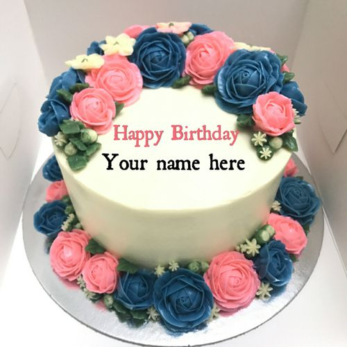 Happy Birthday Red Rose Flower Cake With Your Name Birthday Cake With Photo Happy Birthday Cakes Cake Name
