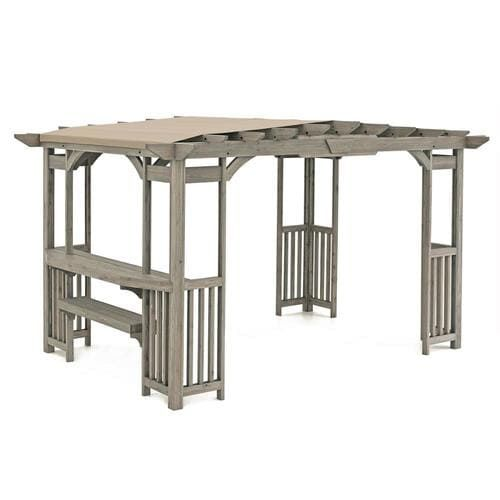 Yardistry 10 Ft W X 14 Ft L X 8 Ft 2 In Gray Wood Attached Pergola With Canopy Lowes Com Pergola Canopy Attached Pergola Gazebo Pergola