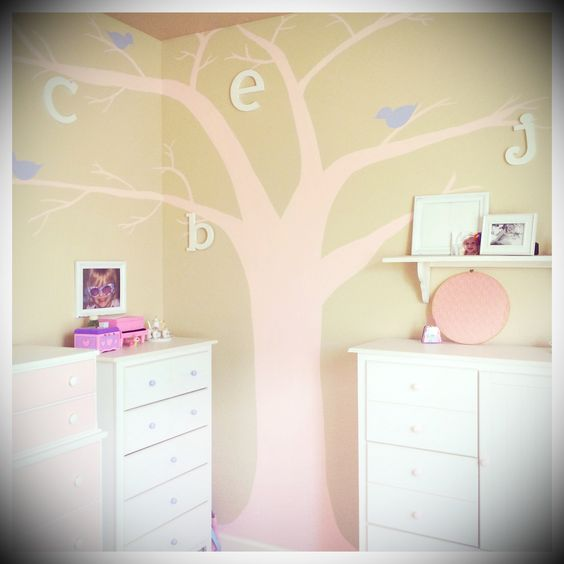 Girl's room painted tree with birds and letters mural