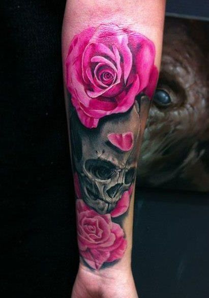 skull and pink roses tattoo 411 586 tattoos pinterest poppies the. Black Bedroom Furniture Sets. Home Design Ideas