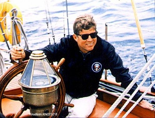 where JFK loved to be, on a boat on the water. great pic