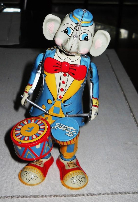 Vintage Tin Wind-Up Toy ELEPHANT DRUMMER T K Toys FOSSIL SWAYS & PLAYS Drums #TKTOYSAuthenticFOSSIL
