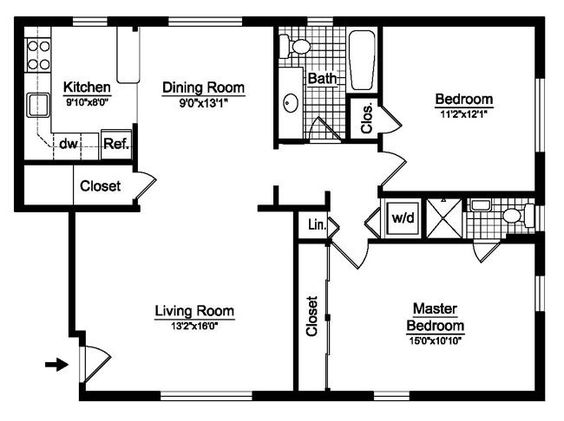 Bedroom floor plans, Floor plans and 2 bedroom house plans on ...