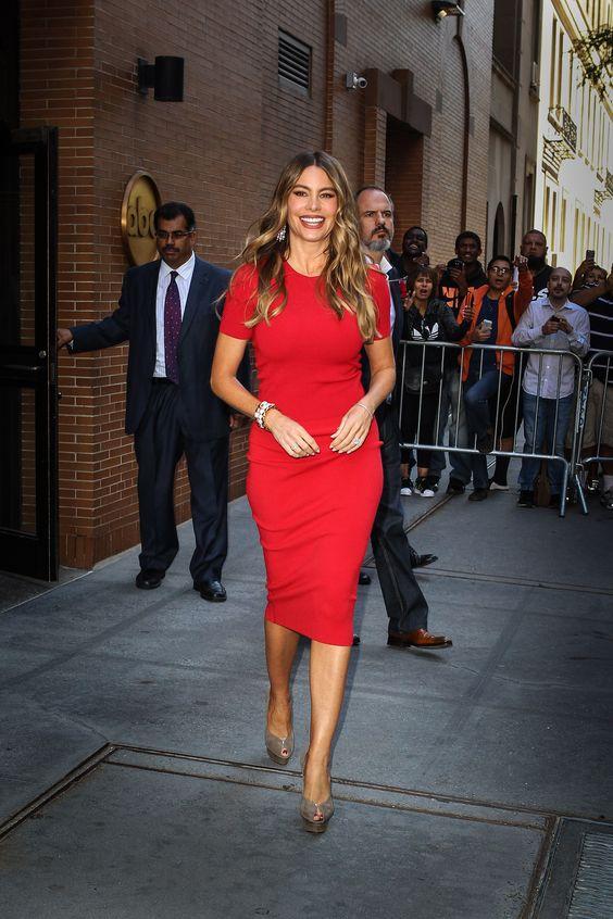 Sofia Vergara rocks a red dress in NYC Photo: @Wagner_az #sofiavergara #paplife
