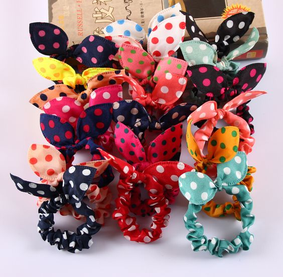 8Pcs/Lot Mix Style Clips For Hair band Polka dot leopard trip hair rope Rabbit Ears scrunchy Hair tie Baby hair accessories-in Hair Accessories from Women's Clothing & Accessories on Aliexpress.com   Alibaba Group