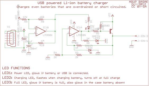 usb li ion charger circuit diagram electronic pinterest rh pinterest com Simple Electronic Schematics Electronic Ignition Schematic