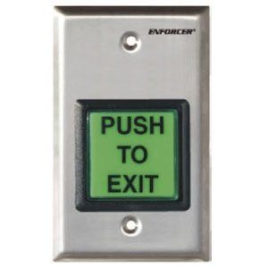"SECO-LARM Enforcer Single Gang Request-to-Exit Plate with 2"" Illuminated Green Pushbutton by Seco-Larm. $29.84. The SECO-LARM Enforcer Single Gang Request-to-Exit Plate with 2"" Illuminated Green Pushbutton is an industrial-style wall-mounted switch that can be used to remotely open a door or gate. It has a built-in relay, ideal for access control, designed to trigg"