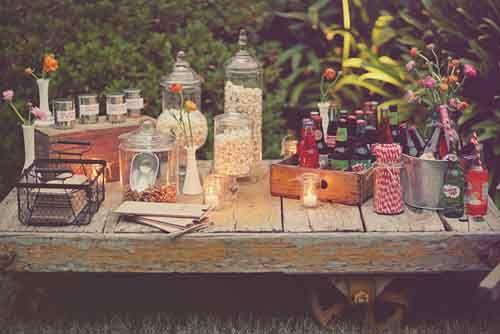 rustic outdoor movie party