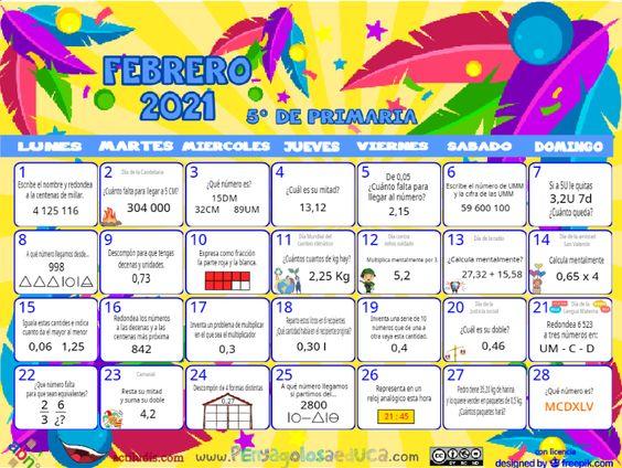 Calendario Quinto ABN – Febrero 2021