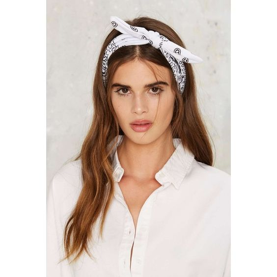 Baby Blues Bandana Headband (€13) ❤ liked on Polyvore featuring accessories, hair accessories, white, baby blue bandana, head wrap hair accessories, white headband, hair band headband and head wrap headbands