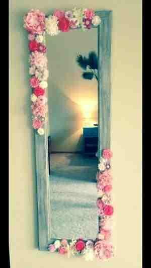 DIY...Embellished wall mirror...glue gun & some dollar store fake flowers..easy & pretty