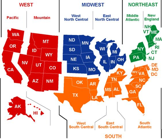 I like this version of a US regions map divided into 4 overall – Map Us Regions