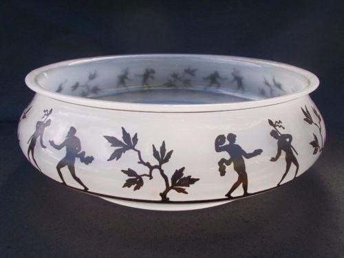 Wiener-Werkstatte-XL-Silhouetted-Enamelled-Glass-Bowl-Steinschonau-Haida-Loetz