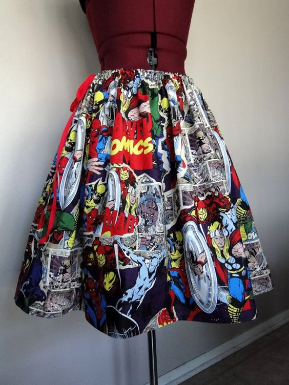 Comic Book Skirts Avengers skirts Marvel Comics Skirts by tintiara