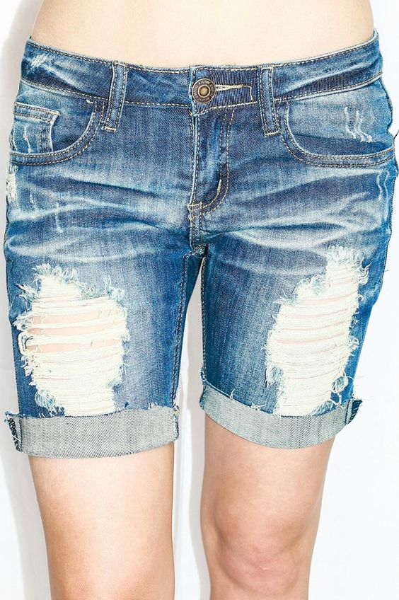 LET IT RIDE DISTRESSED ROLLED SHORTS