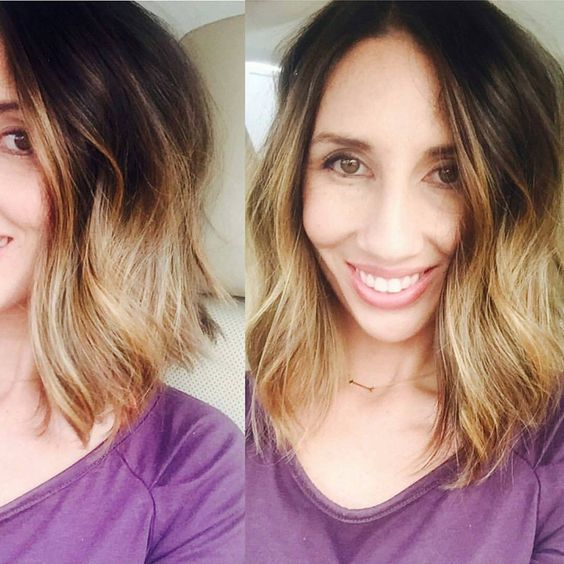 """Thank you for the beautiful shout out @lolabarri of your fresh new hair style!! #nataliewarnerhair #colormelt #lob"""