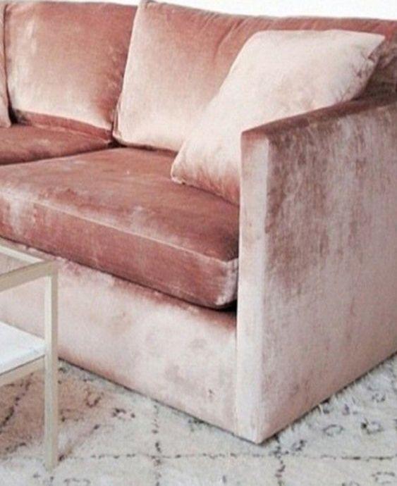 Pink velvet sofa: