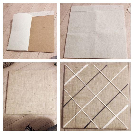 DIY Foto Memobord / Picture memo board.  - Softboard 55 x 55 cm - Vilt - Jute doek 65 x 65 cm - Lint - Nietpistool - Foto's