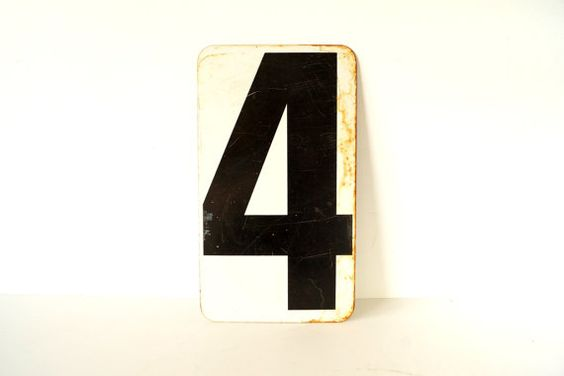 Vintage Metal Number 4 / 5 DoubleSided Sign / Gas by ThirdShift, $42.00