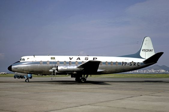 PP-SRC VASP Vickers Viscount 827 at Rio de Janeiro-Santos Dumont Airport in 1973 Phot by Christian Volpati