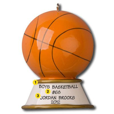Basketball Trophy Personalized Christmas Ornament