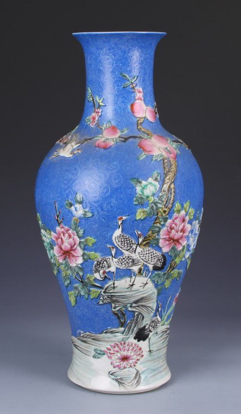 Chinese Carved Famille Rose Vase Quinlong mark. Dimensions 17 1/4 in.