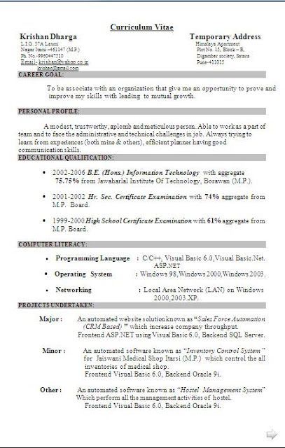 best resume models     sample template example of    best resume models     sample template example of professional curriculum vitae   cv format