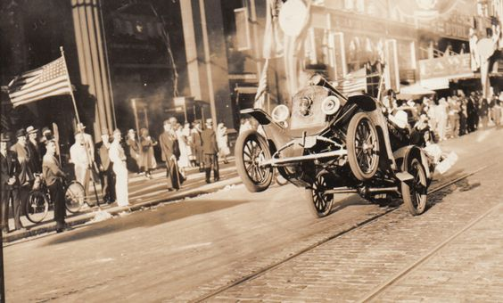 World's oldest known photograph of a car doing a wheelie! 1936