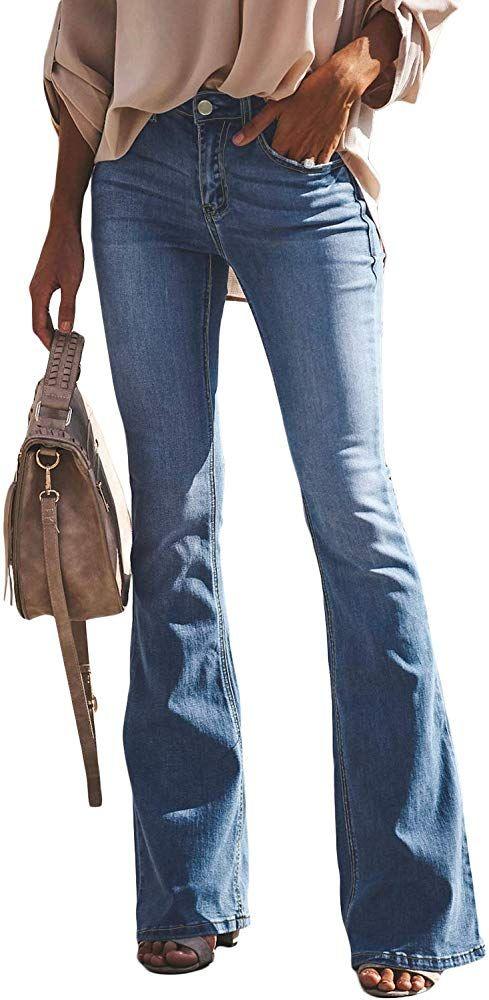 Aleumdr Mujer Pantalones Rectos Jeans Cintura Alta Vaqueros Push Up Para Mujer Azul Size M Jeans Pata De Elefante Pantalones Acampanados Ropa