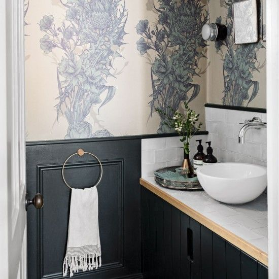 Chic Cloakroom With Feature Wallpaper Ideal Home Powder Room Decor Downstairs Toilet Funky Wallpaper