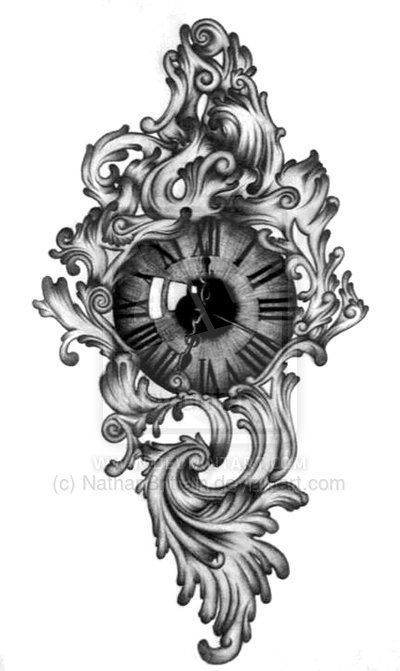 traditional clock tattoo | Clock/eye tattoo design. by NathanBrittain