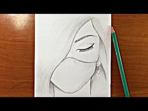 رسم سهل جدا تعليم رسم بنت حزينة ترتدي كمامة بالرصاص للمبتدئين Youtube Art Drawings Sketches Simple Pencil Sketch Tutorial Art Drawings Sketches