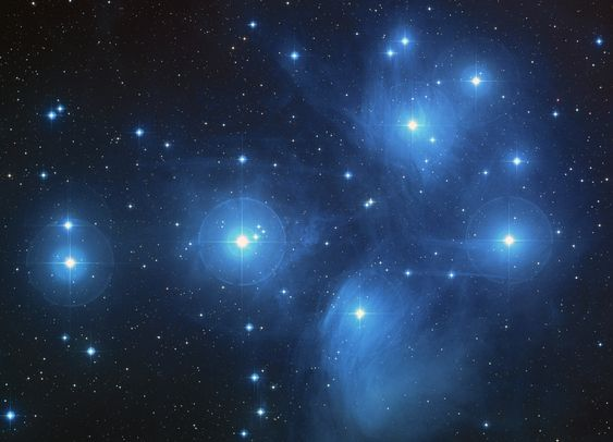 Pleiades. A cluster of young hot bright blue stars at a distance of approximately 440LY. One of the unique objects to spot when starting star gazing. Other objects (northern hemisphere) would be Andomeda nebula, a nearby galaxy system, and the planetary nebulas of Orion, visible remnants of supernovae.