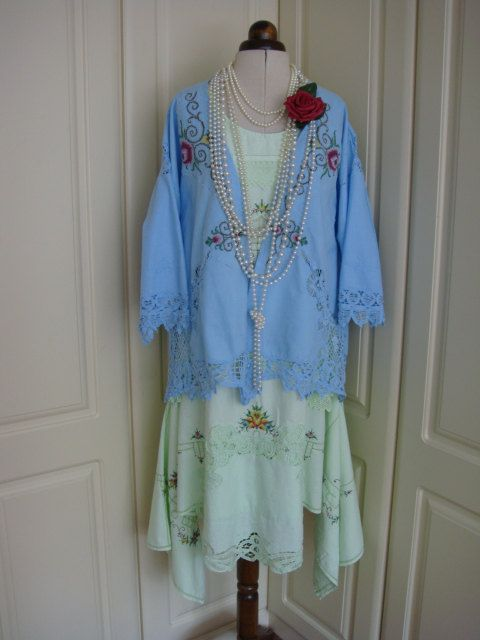 Cornflower Blue Repurposed Vintage Cotton by PrettyUnusuall