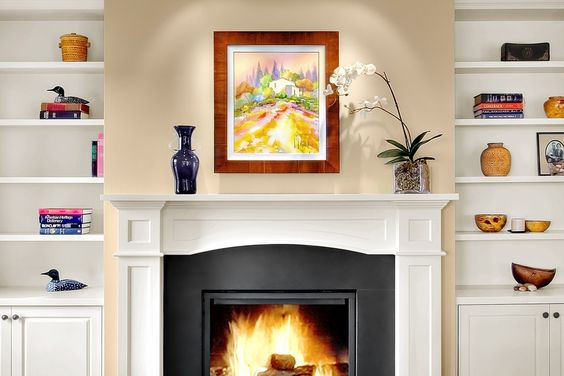 Classic timeless fireplace design with built in shelving for Timeless fireplace designs