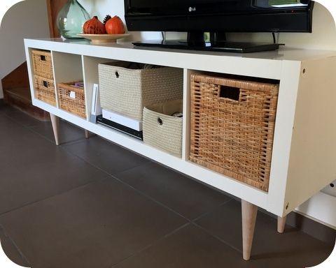 Un meuble stylé années 50 avec KALLAX Legs, 50th and Ikea hack - k che sideboard mit arbeitsplatte