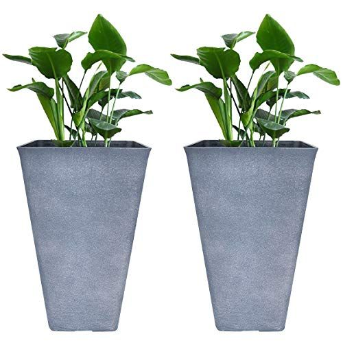 Tall Planters 26 Inch Large Flower Pots Pack 2 Indoor And Outdoor