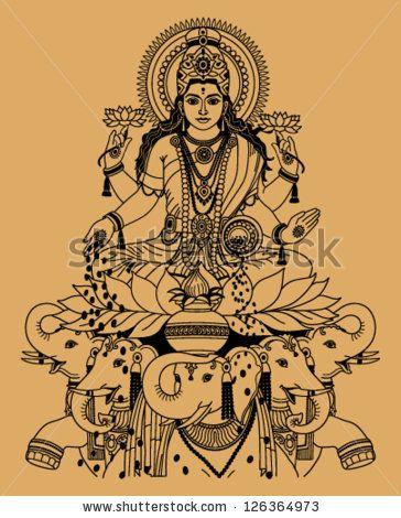 indian goddess lakshmi sitting on elephant on a beige background chakras crystals and such. Black Bedroom Furniture Sets. Home Design Ideas