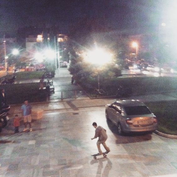 The moment before the #backflip.Or before he flies away :) #skateboard #athens #square