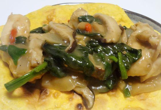 Ginger makkoli stewed chicken with shiitake mushrooms, spinach and goji berries.