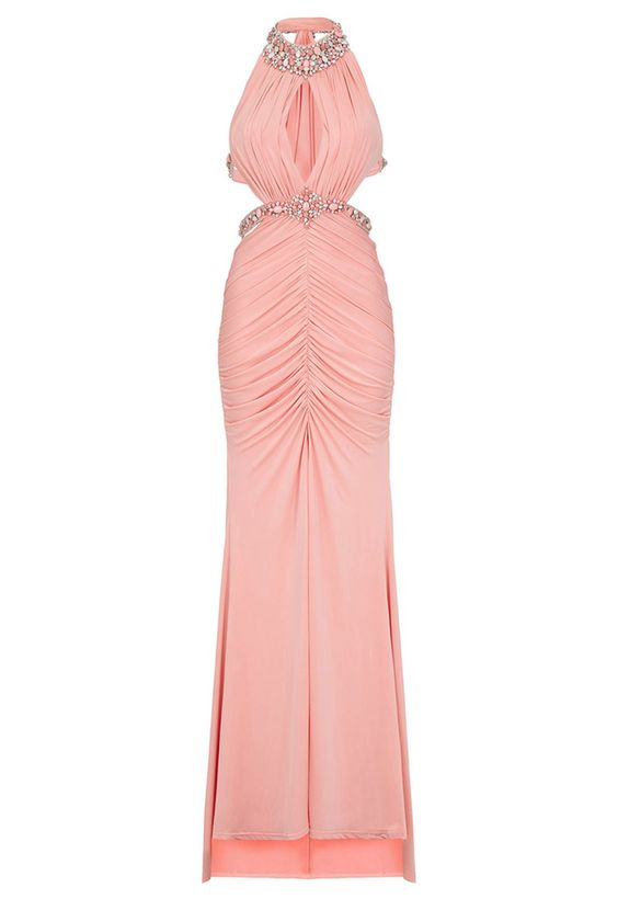 Draped ruching details flatter the figure on this stunning maxi dress. Cutout detailing, jewelled embellishments and a front split ensure all eyes are on you.  Cutout side details Hand embellished straps, neckline and waistline Fully lined Bust cups Invisible side seam zip Approx. length from underarm: 137cm  Team LBD recommends:A chic updo will let the embellishment shine.