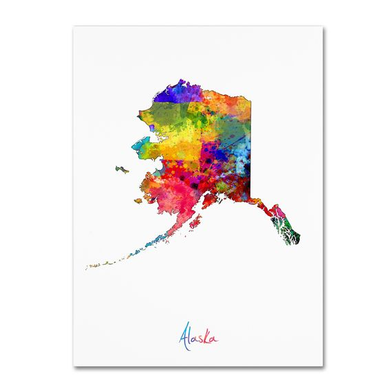 Alaska Map by Michael Tompsett Graphic Art on Wrapped Canvas