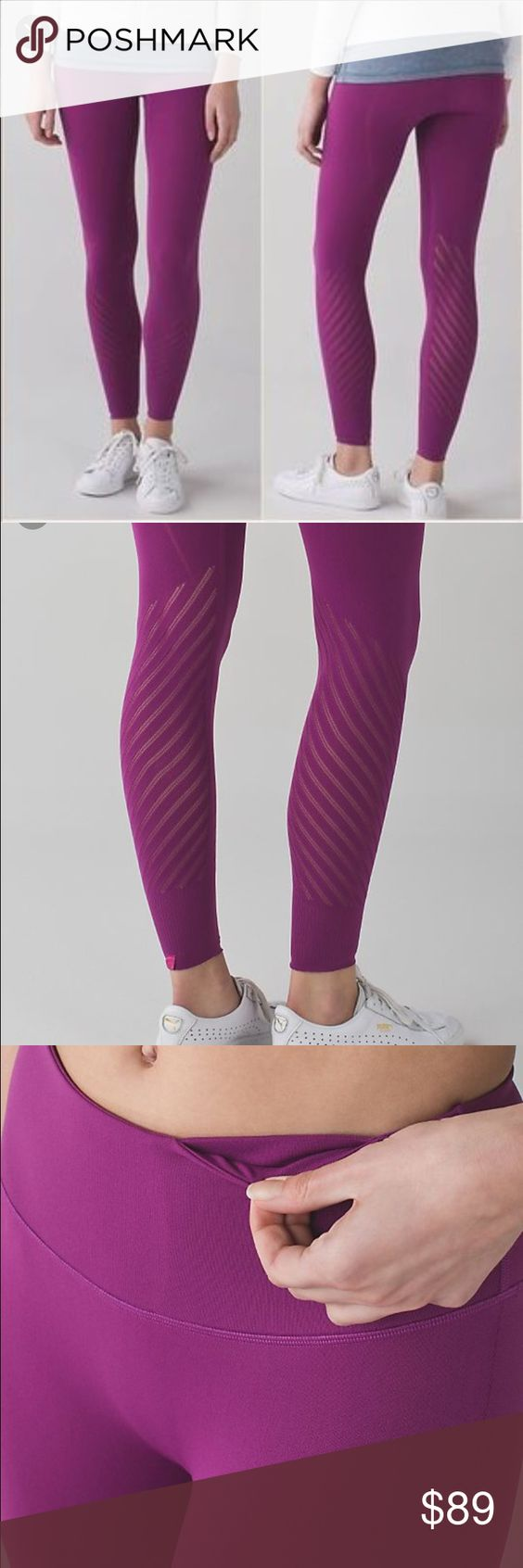 NWT🌻Lululemon🌻Enlighten Tight size large NWT🌻Lululemon🌻Enlighten Tight size large in Regal Plum shade. Designed for your favorite practice, these feather light, high rise tights have engineered mash to let you bend and breathe freely. Fabric is four way stretch and seamless construction keeps chafing at bay. Tuck your key in hidden pocket. These pants are super comfy and stylish! lululemon athletica Pants