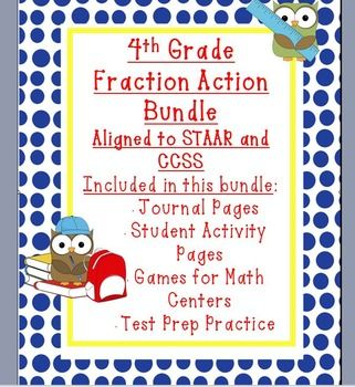 4th grade Fraction Bundle - Aligned to STAAR and CCSS - Only $8