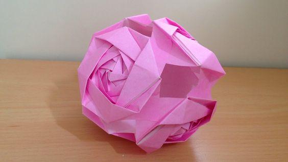 折り紙 くす玉 バラの花 6ユニット 簡単な折り方(niceno1)Origami kusudama Roses flower ball